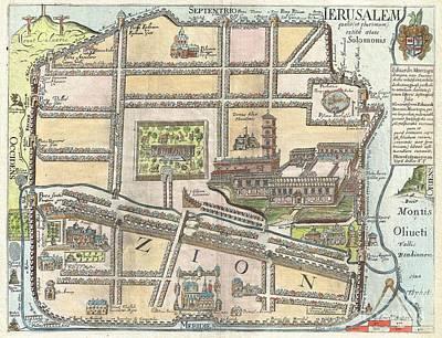 1650 Fuller Map Of Jerusalem  Print by Paul Fearn