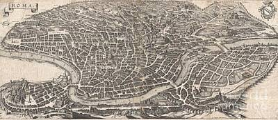 1652 Merian Panoramic View Or Map Of Rome Italy Print by Paul Fearn