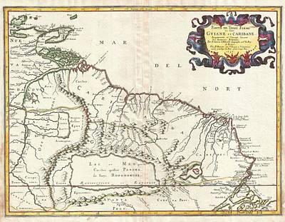 1656 Sanson Map Of Guiana Venezuela And El Dorado Print by Paul Fearn