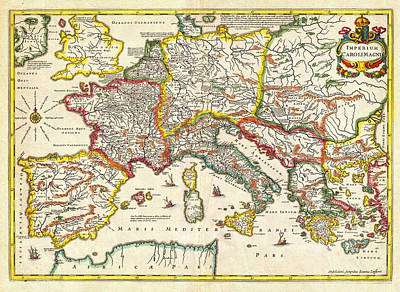 1657 Jansson Map Of The Empire Ofcharlemagne Geographicus Carolimagni Jansson 1657 Print by MotionAge Designs
