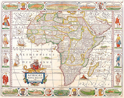 Atlantic Ocean Mixed Media - 1658 Antique Africa Map by Dan Sproul