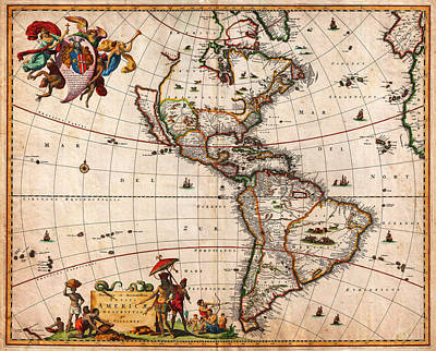 1658 Visscher Map Of North America And South America Geographicus America Visscher 1658 Print by MotionAge Designs