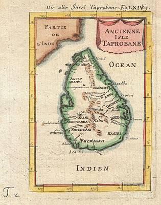 1686 Mallet Map Of Ceylon Or Sri Lanka Print by Paul Fearn
