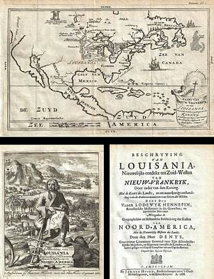 1688 Hennepin First Book And Map Of North America Print by Paul Fearn