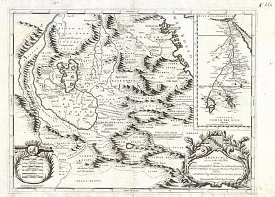 1690 Coronelli Map Of Ethiopia Abyssinia And The Source Of The Blue Nile Print by Paul Fearn