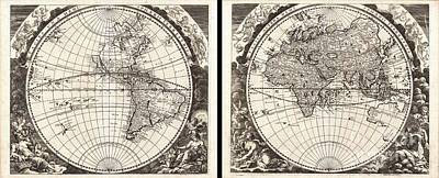 1696 Zahn Map Of The World In Two Hemispheres Print by Paul Fearn