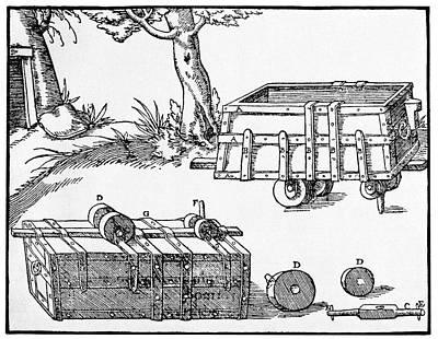 16th Century Mine Cart Print by Cci Archives