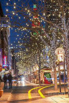 16th Street Mall In Denver Holiday Time Print by Juli Scalzi