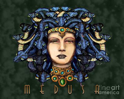 Gorgon Drawing - 16x20 Medusa 2 Dk Grn by Dia T