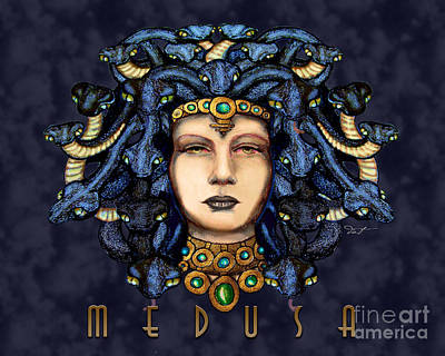 Gorgon Drawing - 16x20 Medusa 2 Navy by Dia T