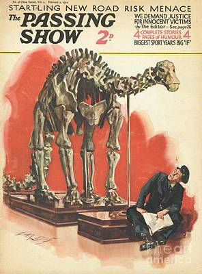 Dinosaur Drawing - 1930s,uk,the Passing Show,magazine Cover by The Advertising Archives