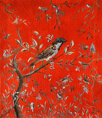 Sparrow Painting - 17 Birds by Sheela Padmanabhan
