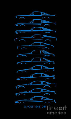 Ford Digital Art - Ford Mustang Silhouettehistory by Gabor Vida