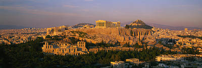 Athens Ruins Photograph - High Angle View Of Buildings In A City by Panoramic Images