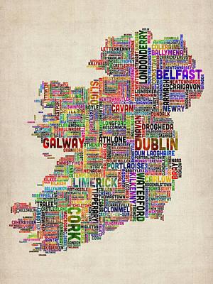Geography Digital Art - Ireland Eire City Text Map by Michael Tompsett