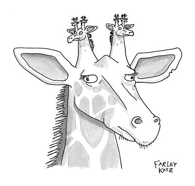Giraffe Drawing - Untitled by Farley Katz