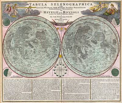 Is Neil Armstrong Photograph - 1707 Homann And Doppelmayr Map Of The Moon  by Paul Fearn