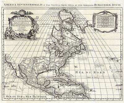 Poster Painting - 1708 De Lisle Map Of North America Covens And Mortier Ed Geographicus Ameriqueseptentrionale Covensm by MotionAge Designs