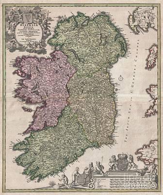 1716 Homann Map Of Ireland Print by Paul Fearn