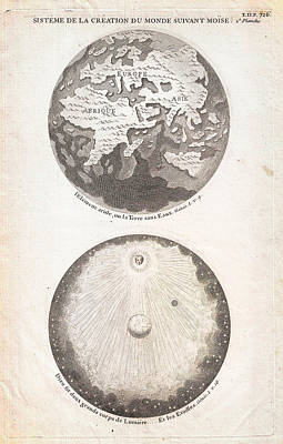 The Universe Painting - 1728 Calmet Map Of The Ancient World Showing The Creation Of The Universe Geographicus Ancientworld  by MotionAge Designs