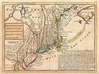 1729 Moll Map Of New York New England And Pennsylvania  Print by Paul Fearn