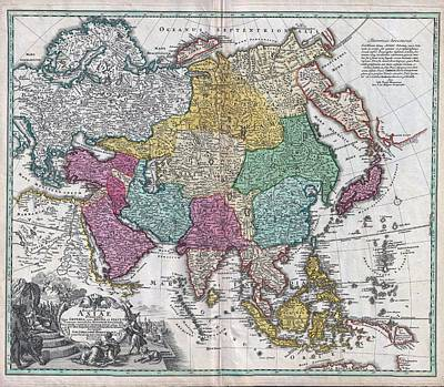 1730 Painting - 1730 C Homann Map Of Asia Geographicus Asiae Homann 1730 by MotionAge Designs