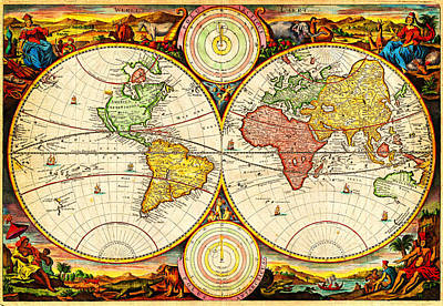 1730 Painting - 1730 Stoopendaal Map Of The World In Two Hemispheres  Geographicus   Wereltcaert Stoopendaal 1730 by MotionAge Designs
