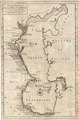 1730 Van Verden Map Of The Caspian Sea Print by Paul Fearn