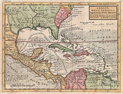 1732 Herman Moll Map Of The West Indies And Caribbean Print by Paul Fearn