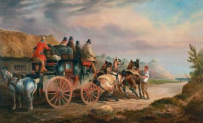 Changing Horses To A Post Chaise Print by Charles Cooper