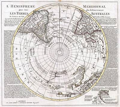 1741 Covens And Mortier Map Of The Southern Hemisphere South Pole Antarctic Print by Paul Fearn