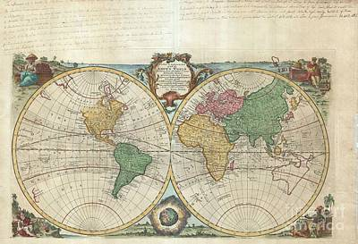 1744 Bowen Map Of The World In Hemispheres Print by Paul Fearn