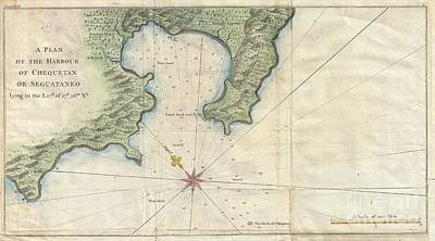 1745 Anson Map Or Chart Of Zihuatanejo Harbor Mexico Print by Paul Fearn