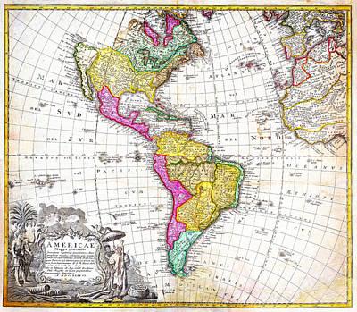 1746 Homann Heirs Map Of South North America Geographicus Americae Hmhr 1746 Print by MotionAge Designs