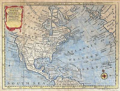 Map Photograph - 1747 Bowen Map Of North America by Paul Fearn