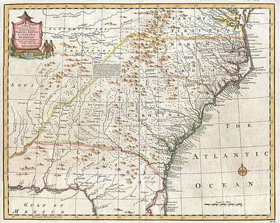 1747 Bowen Map Of The Southeastern United States Carolina Georgia Florida Print by Paul Fearn