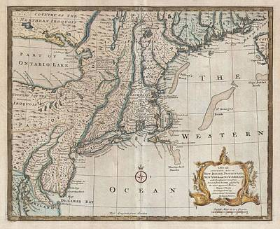 Atlantic Ocean Mixed Media - 1747 New Jersey Map by Dan Sproul