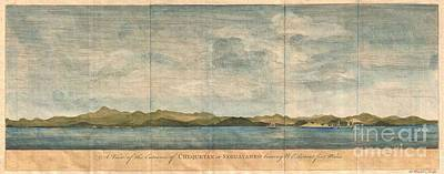 1748 Anson View Of Zihuatanejo Harbor Mexico Print by Paul Fearn