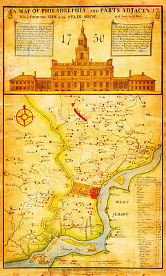 Scull Painting - 1752 1850 Scull Heap Map Of Philadelphia Environs First View Of Phillidelphia State House Geographic by MotionAge Designs