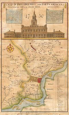 Reprint Photograph - 1752  Scull  Heap Map Of Philadelphia And Environs by Paul Fearn