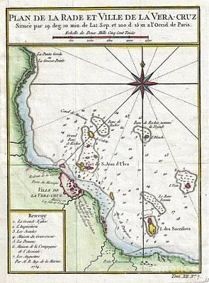 1754 Bellin Map Of Veracruz Mexico  Print by Paul Fearn