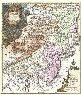 1756 Lotter Map Of Pennsylvania New Jersey And New York Print by Paul Fearn