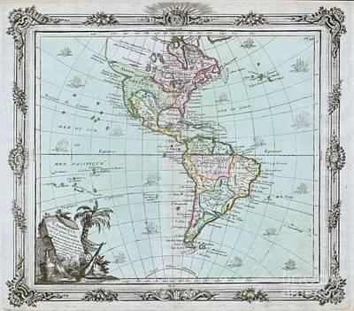 1764 Brion De La Tour Map Of America Print by Paul Fearn