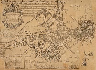 Revolutionary War Mixed Media - 1769 Boston Massachusetts Map by Dan Sproul