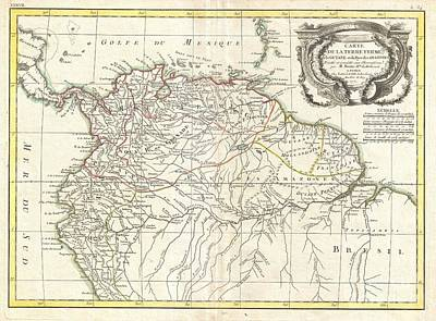 1771 Bonne Map Of Tierra Firma Or Northern South America Print by Paul Fearn