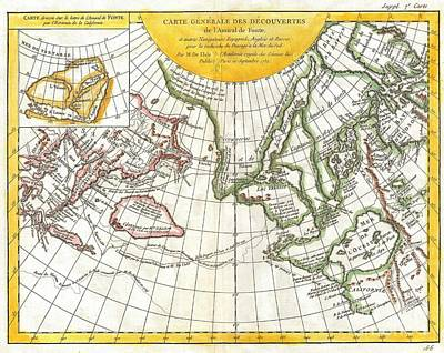 1772 Vaugondy And Diderot Map Of The Pacific Northwest And The Northwest Passage Print by Paul Fearn