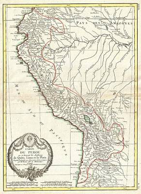 1775 Bonne Map Of Peru Ecuador Bolivia And The Western Amazon Print by Paul Fearn
