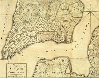 Fourth Mixed Media - 1776 New York City Map by Dan Sproul