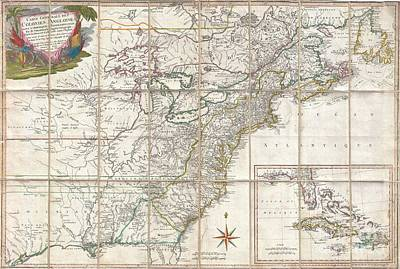 1779 Phelippeaux Case Map Of The United States During The Revolutionary War Print by Paul Fearn