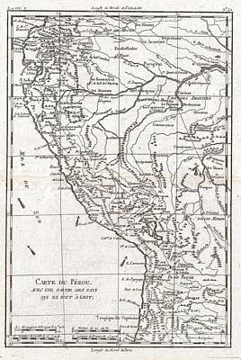 Map Photograph - 1780 Raynal And Bonne Map Of Peru by Paul Fearn